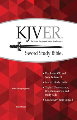 KJVer (Easy Reader) Large Print Sword Study Bible, Personal Size, Genuine Leather Black  -