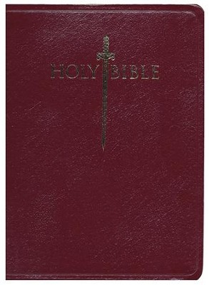 KJV Large Print Sword Study Bible, Genuine Leather Burgundy  -