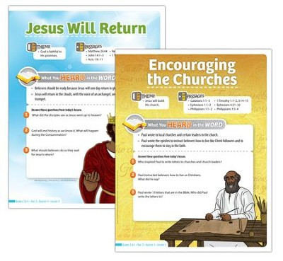 Answers Bible Curriculum Year 3 Quarter 4 Grades 3-4 Student Take-Home Sheets  -