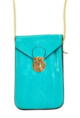 Crossbody Phone Case with Chain, Turquoise  -