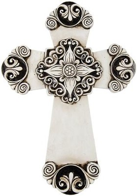 Antique Ivory, Resin Wall Cross  -