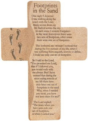 Footprints In the Sand Wall Cross  -