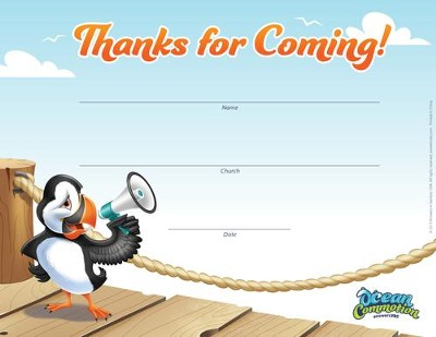 Ocean Commotion VBS Visitor Appreciation Certificate (Pack  of 10)  -