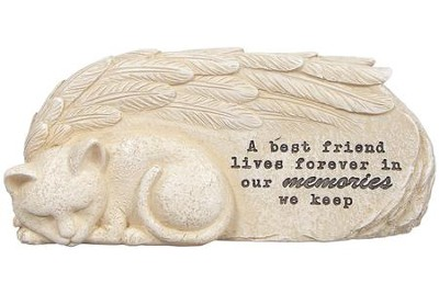 A Best Friend Lives Forever In Our Memories, Cat, Message Stone  -