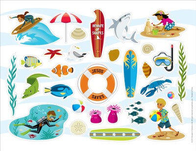 Ocean Commotion VBS Stickers (Pack of 10)  -