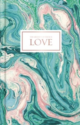 Love, Pink and Teal Marble Journal  -