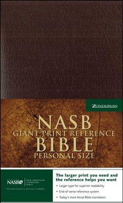NAS Giant Print Reference Bible, Personal Size, Imitation leather, Burgundy  -