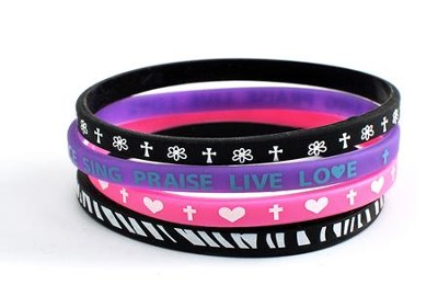Live A Life Of Love Silicone Bracelets, Set of 4  -