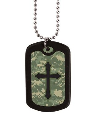 Digital Camo Cross, Tag Necklace  -