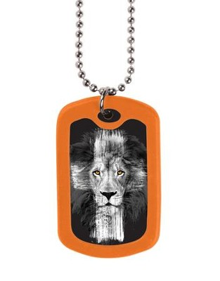 Lion Cross, Tag Necklace  -