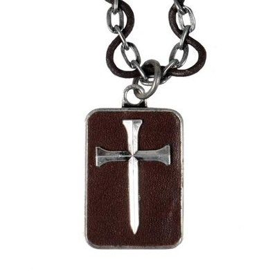 Leather Nail Cross Pendant  -