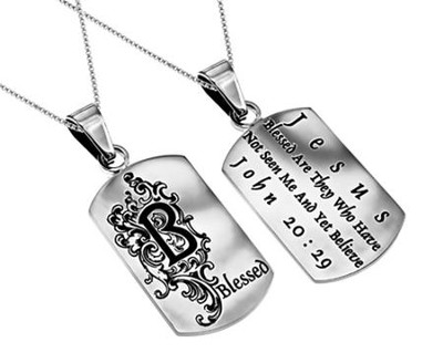 Blessed, Letter Dog Tag   -