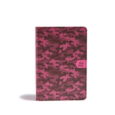 CSB On-the-Go Bible--soft leather-look, pink camouflage  -
