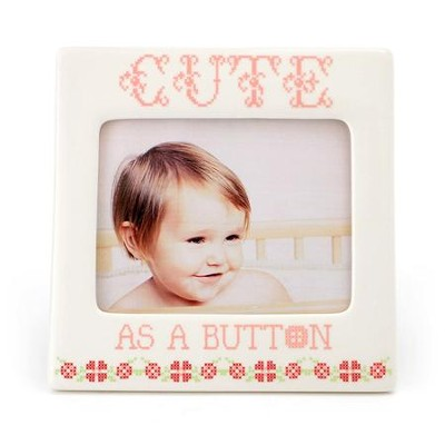 Cute As A Button Photo Frame, Pink  -     By: Lorrie Veasey
