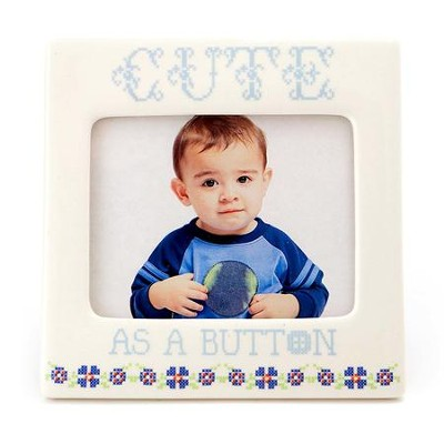 Cute As A Button Photo Frame, Blue: Lorrie Veasey - Christianbook.com