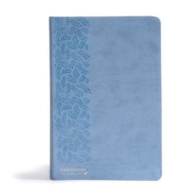 CSB (in)courage Devotional Bible--soft leather-look, blue (indexed)  -