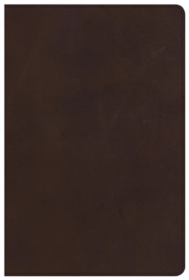 CSB Large-Print Ultrathin Reference Bible--genuine leather, brown (indexed)  -