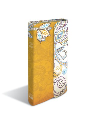 CEB Pocket Thin Bible w/magnetic closure, Soft leather-look, Butterscotch Garden  -