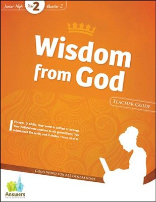 Answers Bible Curriculum: Wisdom from God Jr. High Teacher Guide with DVD-ROM (Year 2 Quarter 2)  -