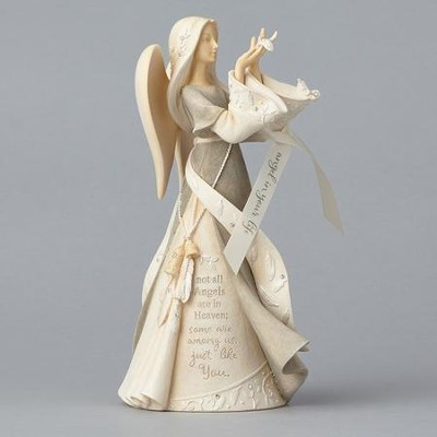 Foundations, Angel Holding Feathers Figurine  -     By: Karen Hahn
