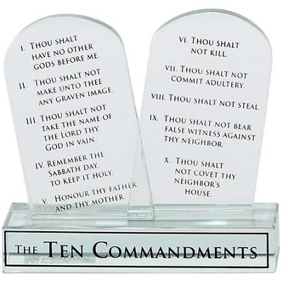 Ten Commandments Glass Plaque  -
