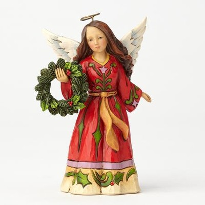 Heartwood Creek, Angel holding Wreath Figurine  -     By: Jim Shore