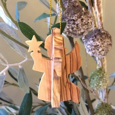 Angel with Star 3-D Olivewood Ornament  -