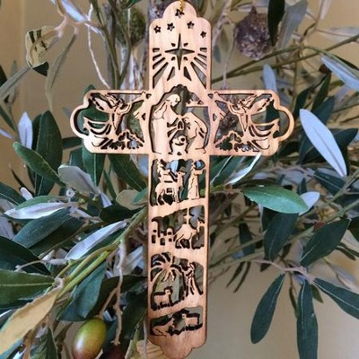 Cross with Nativity Scene Olivewood Ornament  -