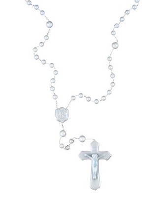 My First Communion Rosary Beads, White  -