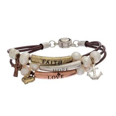 Tri Tone Faith Hope Love Bracelet