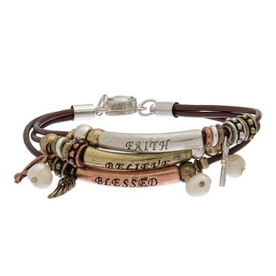 3 Row Faith Bracelet Tri Color