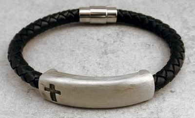 Black Braided Leather Bracelet with Pewter bar, Cross  -