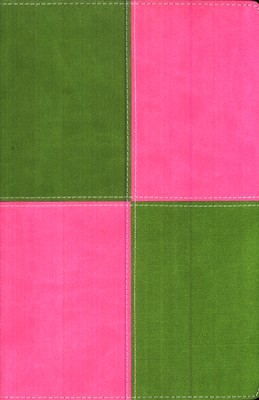 King James Version Thinline Bible, Large Print, Italian Duo-Tone &#153, Meadow Green/Pink  -