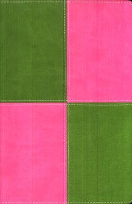 King James Version Thinline Bible, Italian Duo-Tone &#153, Meadow Green/Pink  -
