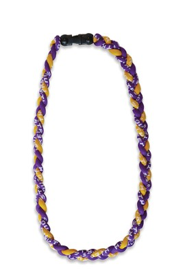 Be Strong and Courageous Sports Necklace, Purple and Gold  -