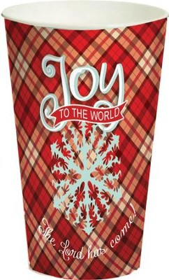 Joy to the World, Plaid Cup, Large  -