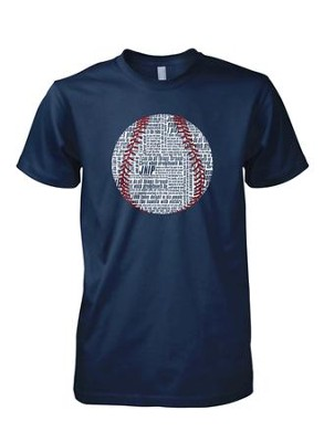 Baseball Word Shirt, Navy, Small  -
