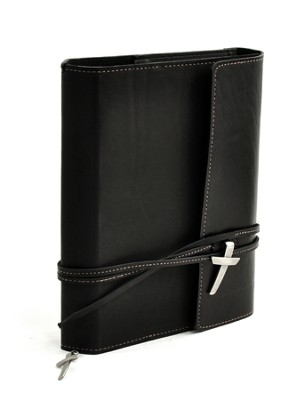 Leather Wrap Bible Cover, Black, Large  -