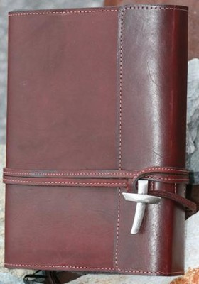 Leather Wrap Bible Cover, Burgundy, Large  -
