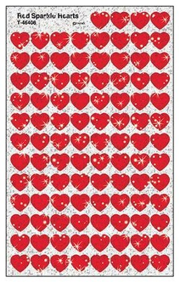 Red Sparkle Hearts SuperShapes Stickers  -