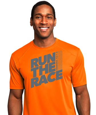 Run The Race, Performance Tee Shirt, Neon Orange, 3X-Large (54-56)  -