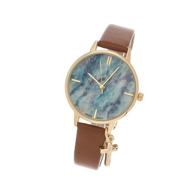 Marble Face Watch with Cross, Brown Strap  -