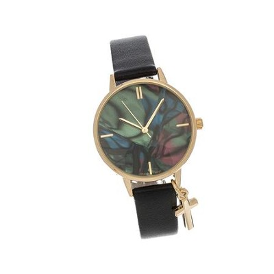 Marble Face Watch with Cross, Black Strap  -