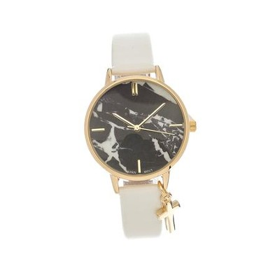 Marble Face Watch with Cross, White Strap  -