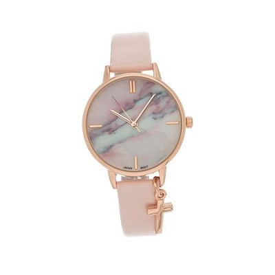 Marble Face Watch with Cross, Pink Strap  -