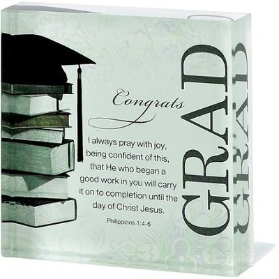 Congrats Grad Glass Block  -
