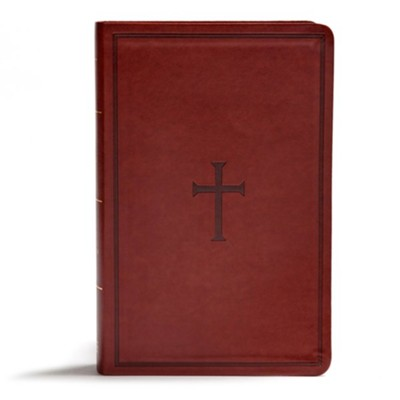 KJV Giant-Print Reference Bible--soft leather-look, brown (indexed)  -