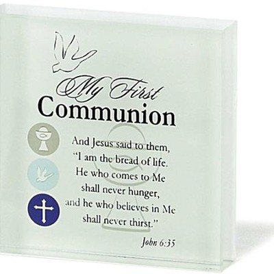 My First Communion Glass Block  -