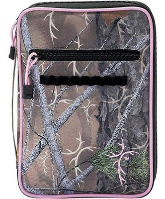 Truth Hunter Bible Cover with Cross Embroidery, Camouflage and Pink, Large  -