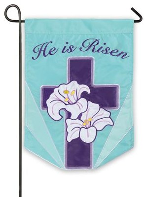 He Is Risen, Lily Cross Flag, Small  -